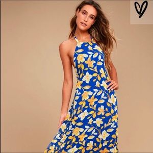 Lulus Blue and Yellow Floral Print Dress